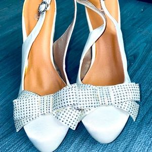 Allure Bridal White Bow Heels